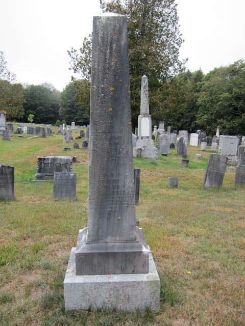 Tall gray headstone for Joseph Morse, Jr and wife Lucy
