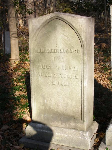 Headstone saying Philander Seward died Aug 8, 1853 Aged 62 years