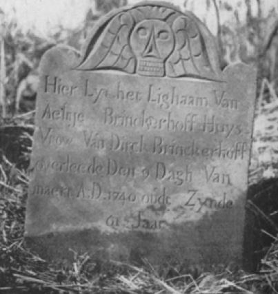 old photograph of headstone for Aeltje van Couwenhoven Brinckerhoff