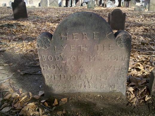 Gravestone for Thomas Douglas dating to 1724