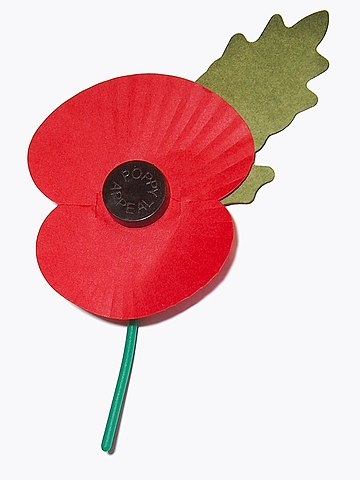 Photo of handmade red poppy used in remembrance of WW I veterans
